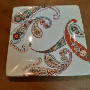 PAISLEY HAND PAINTED SQUARE PLATE